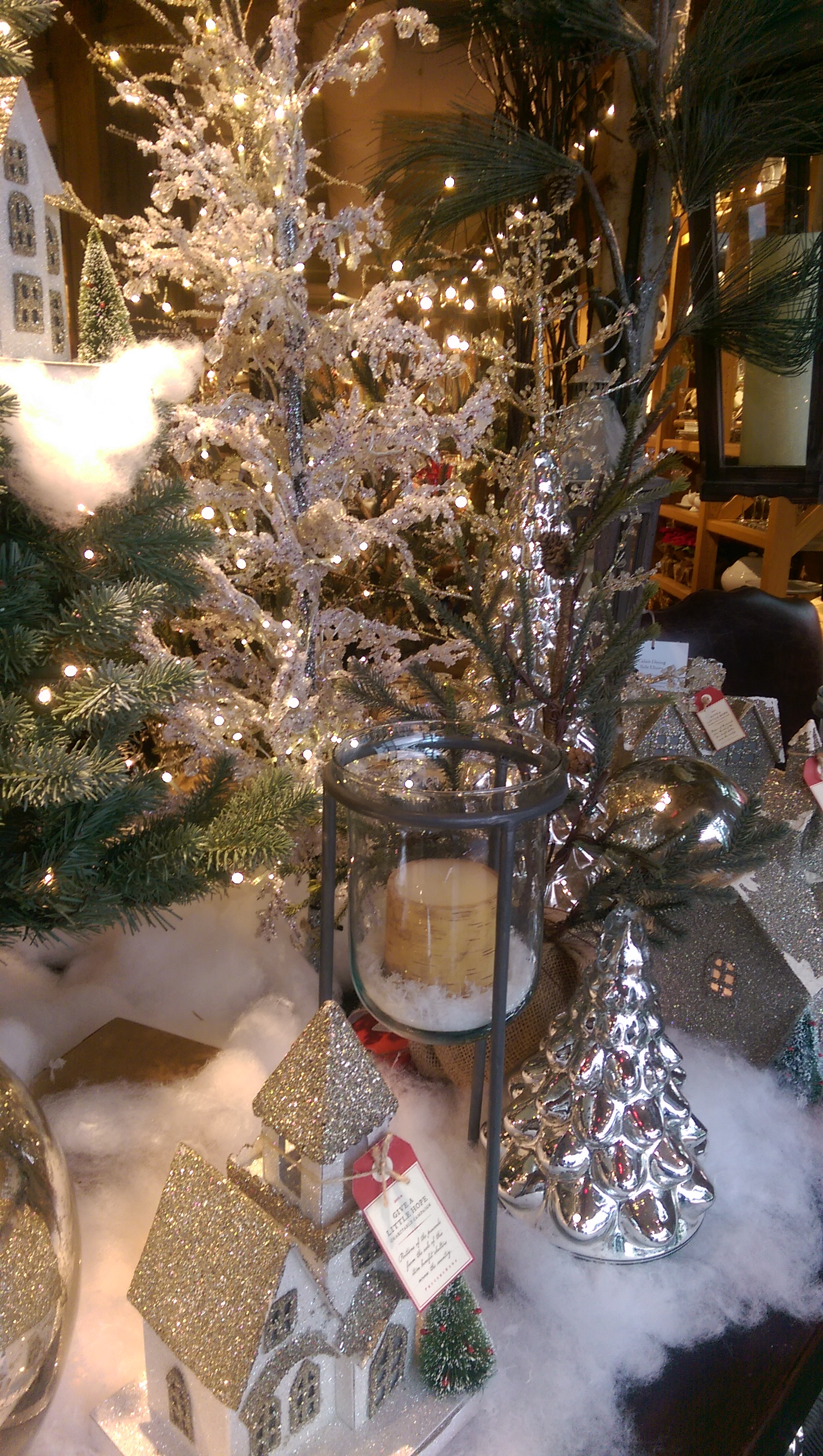 Pottery barn christmas ornaments - This Lovely Table Scene Has Both The Champagne Glitter Trees And The Faceted Jewel Trees The Glitter Trees Are On Sale Now The Smaller One From 19 50 And
